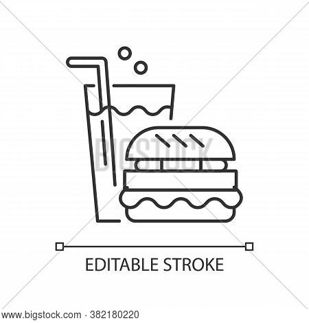 Fast Food Linear Icon. Eating Area In Water Park Thin Line Customizable Illustration. Contour Symbol