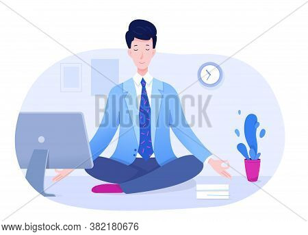 Peaceful Office Manager Meditating Sitting In Lotus Pose On Table. Businessman Doing Yoga Exercise.