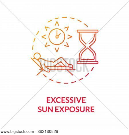 Excessive Sun Exposure Concept Icon. Heatstroke. Danger Of Sunbathing. Sunstroke. Cancer Risk Factor