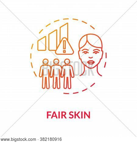 Fair Skin Concept Icon. Melanoma Risk Factors. Ultraviolet Radiation. Cancer Prevention. Dermatology