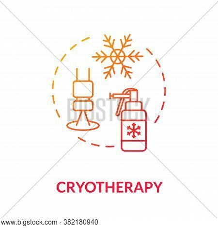 Cryotherapy Concept Icon. Malignancy. Cryoablation. Moles Removal Therapies. Cold Therapy. Local Ski