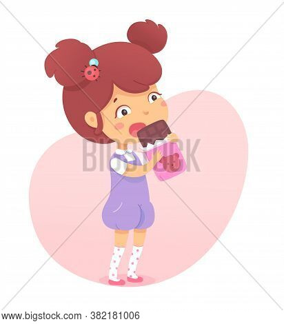 Cute Little Child Eat Chocolate Bar Wrapped In Package. Funny Girl Kid Enjoy Sweet Dessert Snack. Fa