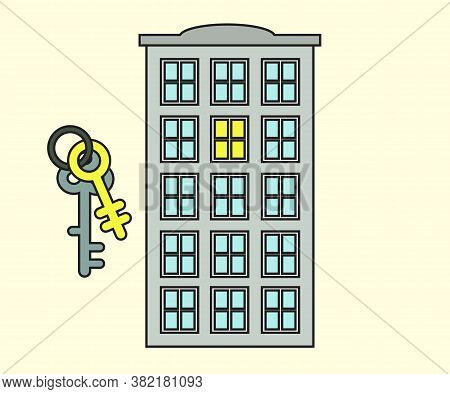 Apartment Building And Keys. Renting An Apartment. Vector Illustration.