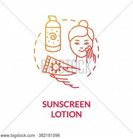 Sunscreen Lotion Concept Icon. Dermatology. Spf Moisturizers. Sun Protection Lotion. Sunburn And Ski