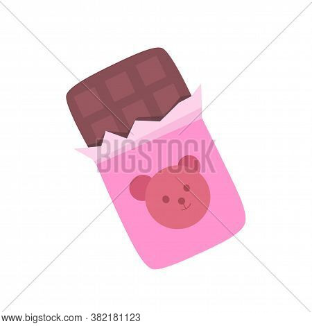 Open Brown Natural Milk Chocolate Bar In Pink Wrapping With Cute Teddy Bear Decoration Sweet Cacao S