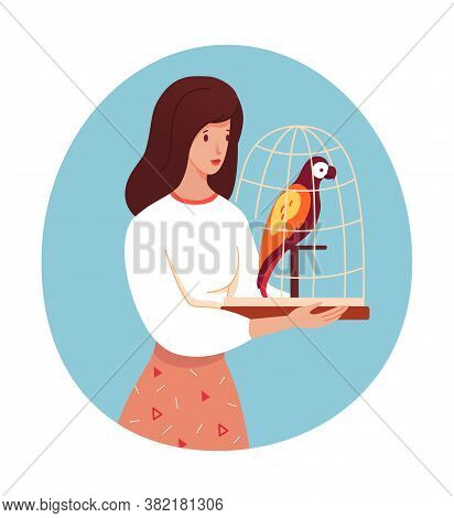 Woman Character Holding Parrot In Cage Expecting Vet Doctor Appointment. Veterinary Clinic Service.