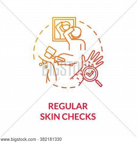 Regular Skin Checks Concept Icon. Self Examination. Healthcare. Dermatology. Skin Care. Melanoma Pre