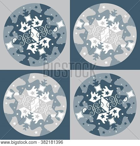 Pattern Of Stars And Puzzle Pieces Style. Christmas Theme. Vector Illustration.