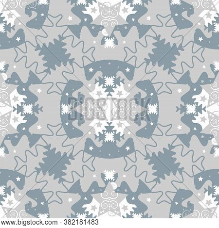 Pattern Of Stars And Puzzle Pieces Style. Seamless Pattern Christmas Theme. Blue, White And Grey. Ve
