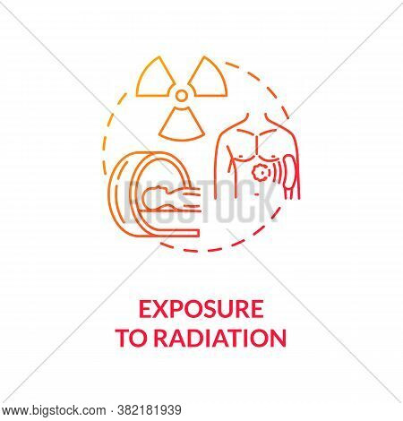 Exposure To Radiation Concept Icon. Cancer Risk Factors. Ultraviolet. Skin Cancer Treatment And Ther