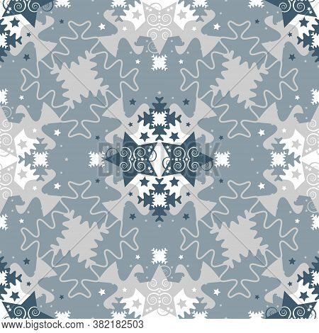 Pattern Of Stars And Puzzle Pieces. Seamless Pattern Christmas Theme. Blue, White And Grey. Vector I