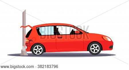 Vector Character Illustration Auto Traffic Accident. Car Crashed To Street Lighting Pole. Damaged Au
