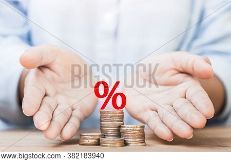 Hands Of The Person Who Provided The Loan With Interest To Prevent And Help With Family Debt Problem