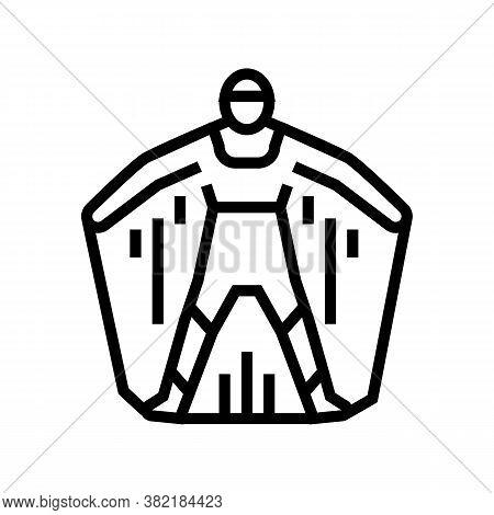 Wingsuit Extreme Active Sportsman Line Icon Vector. Wingsuit Extreme Active Sportsman Sign. Isolated