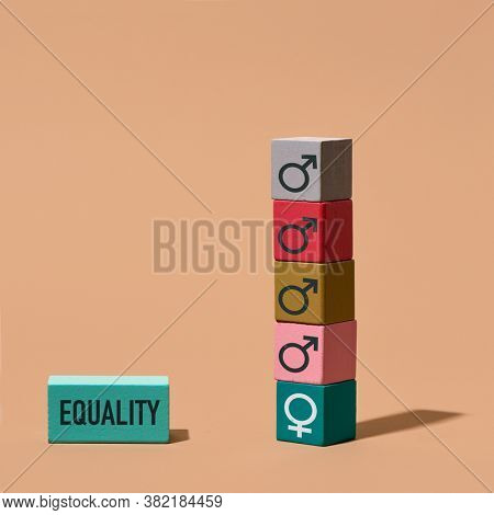 a pile of building blocks with male gender symbols and a building block with a female gender symbol on the bottom of the stack, and another building block with the word equality, on a brown background