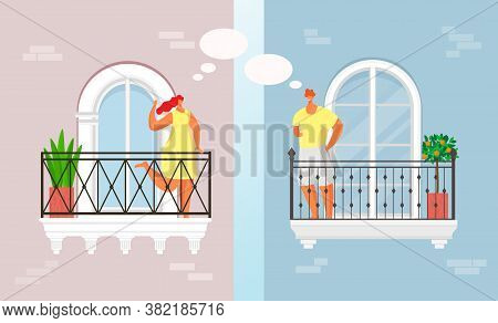 Balcony People Talk At Home Leisure Vector Illustration. Young, Smiling Couple Communicate In Quaran