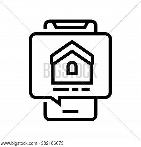 Mobile Phone House Buy Correspondence Line Icon Vector. Mobile Phone House Buy Correspondence Sign.