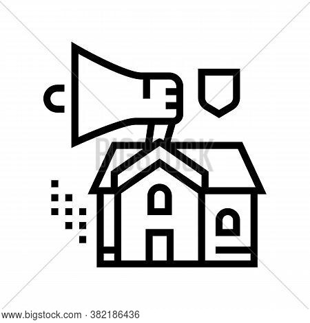 House Selling Loudspeaker Line Icon Vector. House Selling Loudspeaker Sign. Isolated Contour Symbol