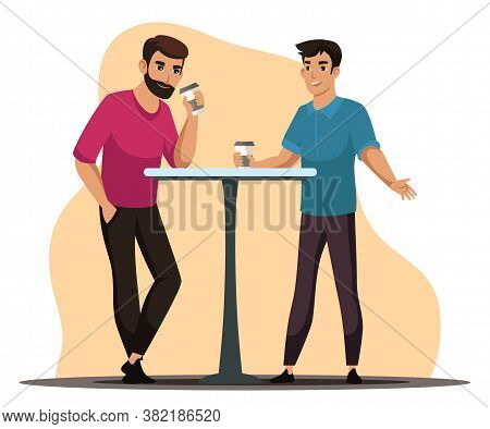 Coffee Break Concept. Two Men Stand At Table In Cafe, Relaxing In Cafeteria. Friends Or Colleagues M