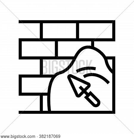 Cement On Brick Wall Line Icon Vector. Cement On Brick Wall Sign. Isolated Contour Symbol Black Illu