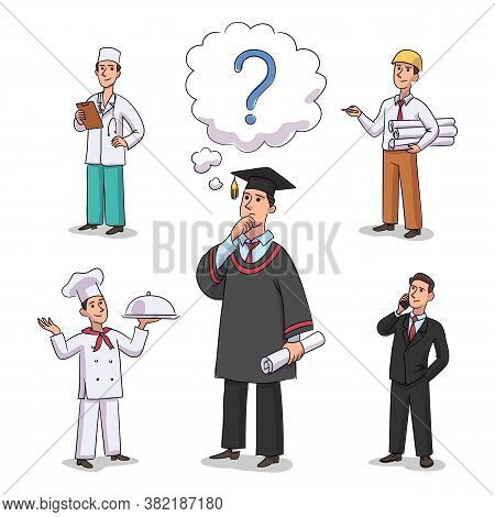 Teenager Boy Student Wearing Academic Hat And Gown Thinking Dreaming About Future Profession. Career