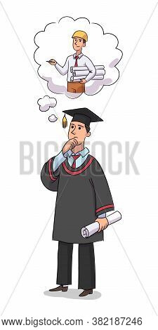 Graduate Chooses Profession. Young Man In Graduation Form Thinking, Choosing Future Career Isolated