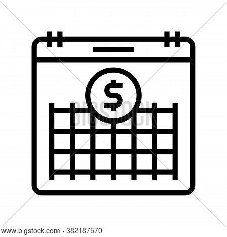 Finance Investment Calendar Line Icon Vector. Finance Investment Calendar Sign. Isolated Contour Sym