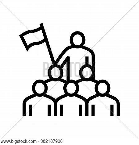 Employees Leadership Line Icon Vector. Employees Leadership Sign. Isolated Contour Symbol Black Illu