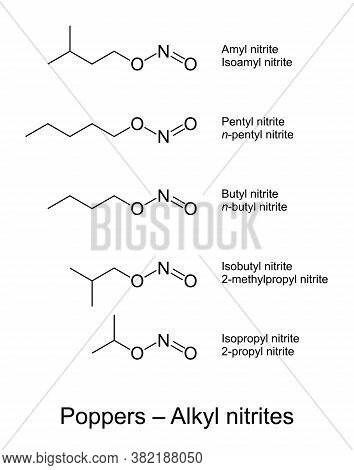 Poppers, Alkyl Nitrites Chemical Structures. Slang Term For Chemical Compounds, Used Especially In T