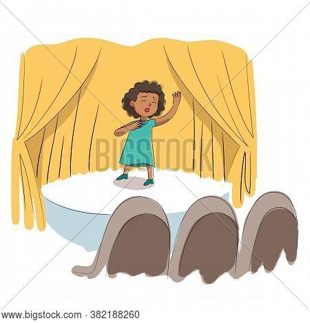 Kid Talent Show. Girl Singer Singing Song. Little Vocalist Performs On Festival Stage Or Karaoke. Ha