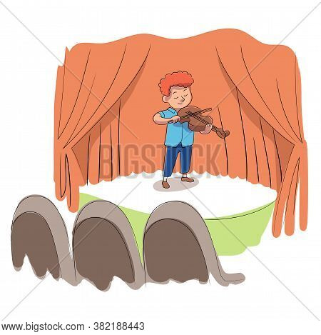 Kid Talent Show. Boy Violinist Plays Violin Instrument. Little Musician Performs On Music Stage. Hap