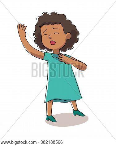 Girl Singer Vector Character Singing Song. Little Vocalist Performs On Festival Stage Or Karaoke. Ha
