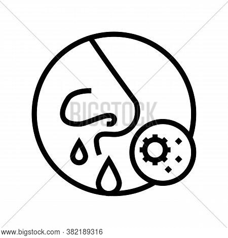 Running Nose Line Icon Vector. Running Nose Sign. Isolated Contour Symbol Black Illustration