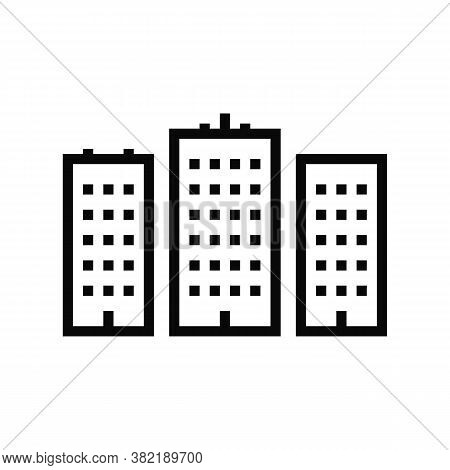 City High Buildings Line Icon Vector. City High Buildings Sign. Isolated Contour Symbol Black Illust