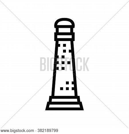 Lighthouse Coastline Building Line Icon Vector. Lighthouse Coastline Building Sign. Isolated Contour