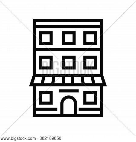 House With Apartment Building Line Icon Vector. House With Apartment Building Sign. Isolated Contour