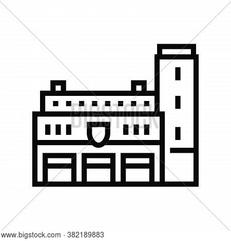 Fire Department Building Line Icon Vector. Fire Department Building Sign. Isolated Contour Symbol Bl