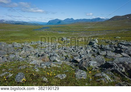 Arctic nature of Scandinavia in warm summer sunny day with blue sky. View from Nordkalottruta or Arctic hiking Trail in northern Sweden