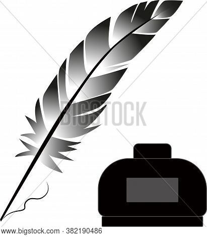 Gray Feather With Inkwell On A White Background. Feather Vector.