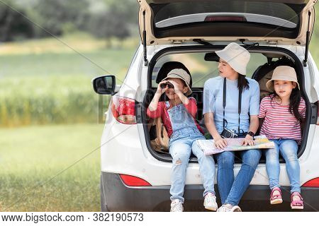 People Asia Family Young Woman And Girl Traveler And Tourism Go To Trips Travel On Hatchback Car To