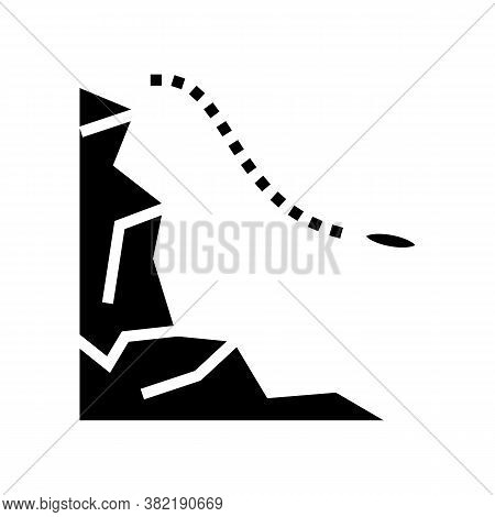 Jump From Mountain Glyph Icon Vector. Jump From Mountain Sign. Isolated Contour Symbol Black Illustr
