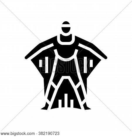 Wingsuit Active Extreme Sportsman Glyph Icon Vector. Wingsuit Active Extreme Sportsman Sign. Isolate