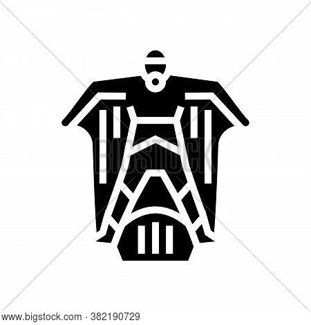 Wingsuit Sportsman Glyph Icon Vector. Wingsuit Sportsman Sign. Isolated Contour Symbol Black Illustr