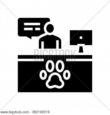 Pet Shelter Worker Workspace Glyph Icon Vector. Pet Shelter Worker Workspace Sign. Isolated Contour