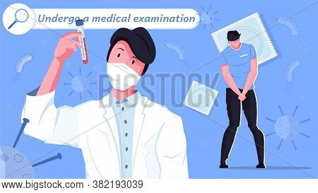 Sexually Transmitted Diseases Tests Flat Composition With Characters Of Patient With Doctor And Icon