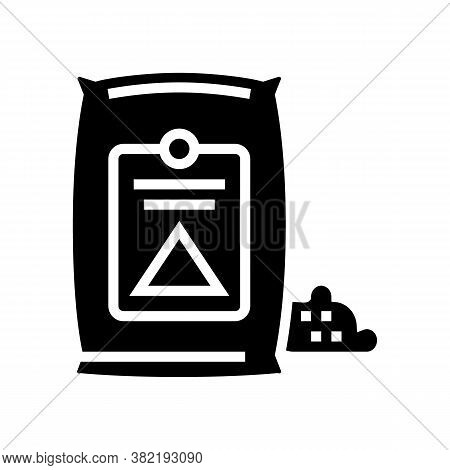 Cement Bag Glyph Icon Vector. Cement Bag Sign. Isolated Contour Symbol Black Illustration