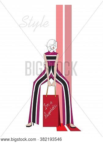 Beautiful Young Woman In Modern Style Striped Clothes. Hand Drawn Stylish Woman Portrait. Fashion La