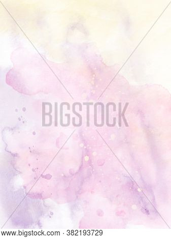 Abstract Background Design Bright Colors With Pink And Yellow Splatter Watercolor Hand-painted. Stai