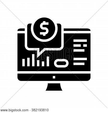Financial Web Site Computer Screen Glyph Icon Vector. Financial Web Site Computer Screen Sign. Isola