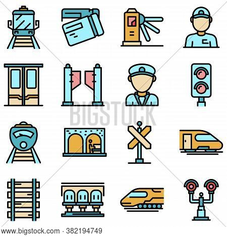 Electric Train Driver Icons Set. Outline Set Of Electric Train Driver Vector Icons Thin Line Color F